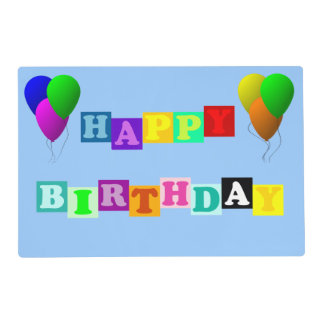 Happy Birthday With Balloons Laminated Place Mat