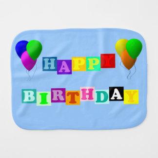 Happy Birthday With Balloons Baby Burp Cloth
