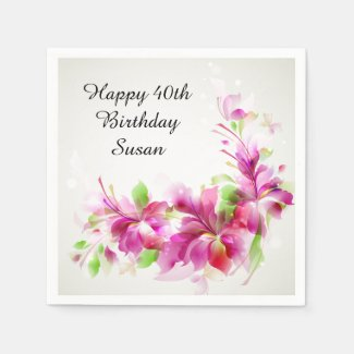 Happy Birthday with Beautiful Flowers Disposable Napkins