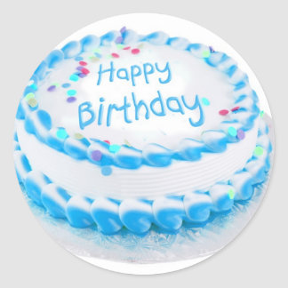 Happy birthday with blue frosting classic round sticker