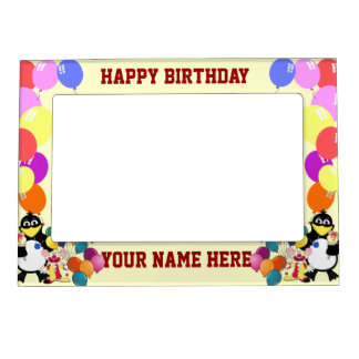Happy birthday with cartoons & balloons picture frame magnet