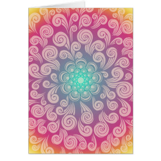 Happy Birthday with Colorful Girly Swirls Greeting Cards