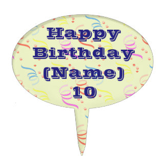 Happy Birthday with Confetti Oval Cake Topper