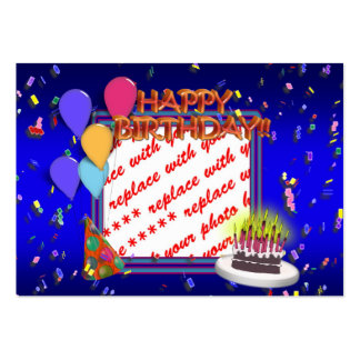 Happy Birthday With Confetti  Photo Frame Large Business Cards (Pack Of 100)