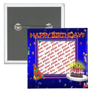 Happy Birthday With Confetti  Photo Frame Button