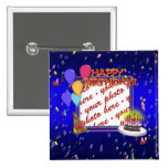 Happy Birthday With Confetti  Photo Frame Buttons