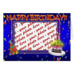 Happy Birthday With Confetti  Photo Frame Greeting Card