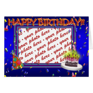 Happy Birthday With Confetti  Photo Frame Card
