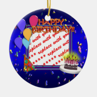 Happy Birthday With Confetti  Photo Frame Ceramic Ornament