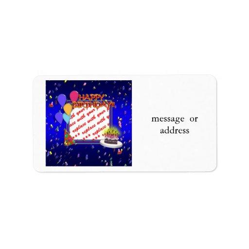 Happy Birthday With Confetti  Photo Frame Custom Address Labels