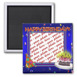 Happy Birthday With Confetti  Photo Frame 2 Inch Square Magnet