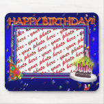 Happy Birthday With Confetti  Photo Frame Mouse Pad