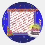 Happy Birthday With Confetti  Photo Frame Sticker