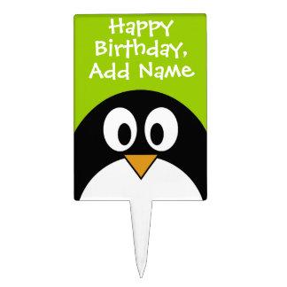Happy Birthday with Cute Cartoon Penguin Cake Topper
