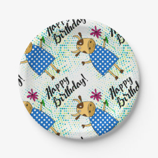 """""""Happy Birthday"""" with cute doodle cow Paper Plate"""