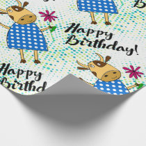 """Happy Birthday"" with cute doodle cow Wrapping Paper"