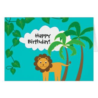 Happy Birthday with Cute Lion in Jungle Card