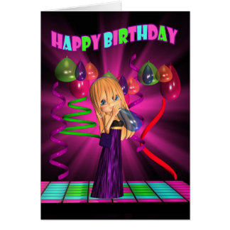 Happy Birthday with Cute little Cutie Pie ballons Greeting Card
