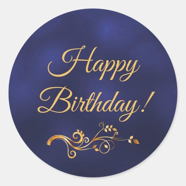 Happy Birthday with elegant blue and gold decor Classic Round Sticker