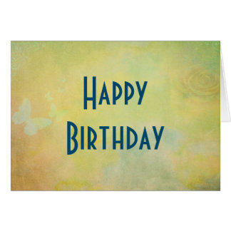 Happy Birthday with faded Yellow Watercolors Card
