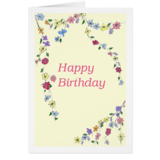 Happy Birthday with Flowers Card