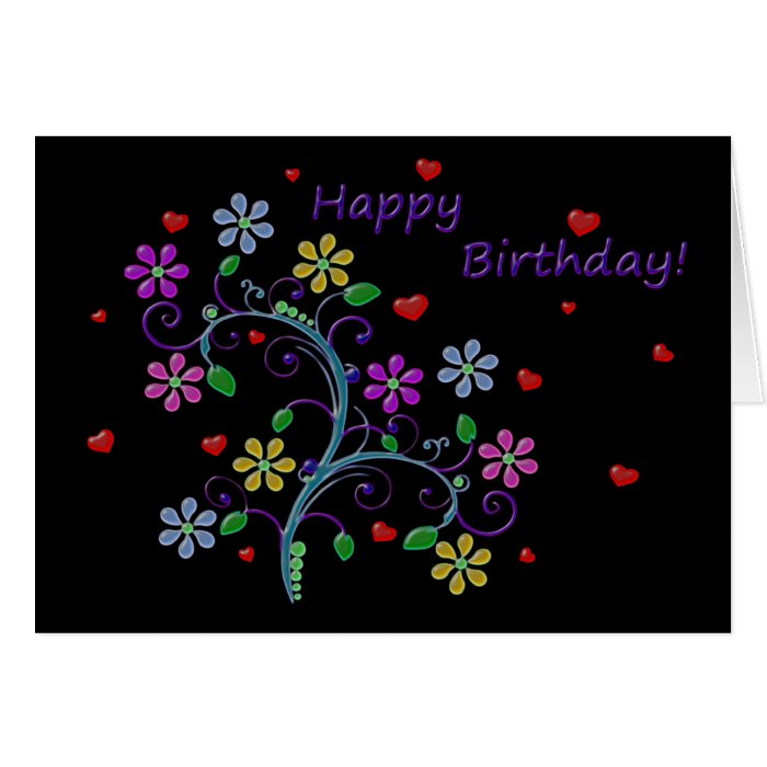 Happy Birthday with Flowers, Hearts, and Love Card