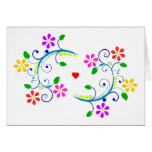 Happy Birthday, with Flowers, Swirls, and a Heart Stationery Note Card