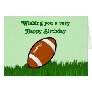 Happy Birthday with football on grass Greeting Card