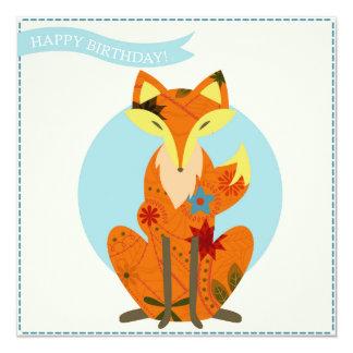 Happy birthday with fox card