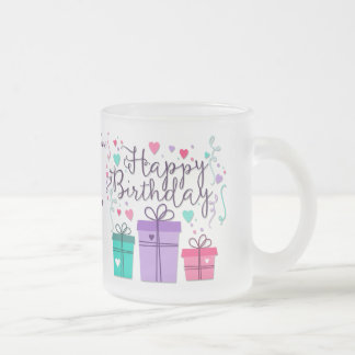 """Happy Birthday With Gift Boxes"" - Customize Frosted Glass Coffee Mug"