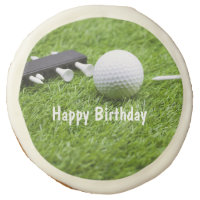 Happy Birthday with golf ball and tee on green Sugar Cookie