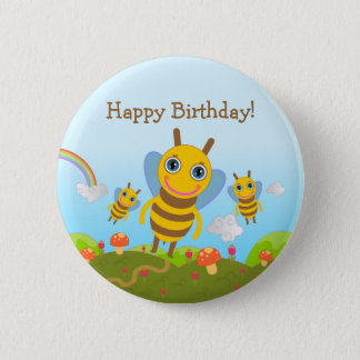 Happy Birthday with honey bees Pinback Button