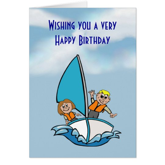 Happy Birthday With Kids On Sailing Boat Card