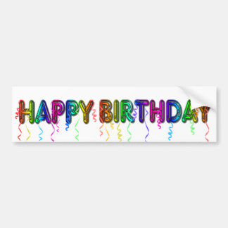 Happy Birthday with Party Streamers Bumper Sticker