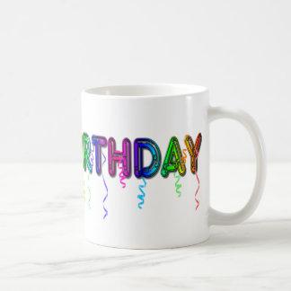 Happy Birthday with Party Streamers Coffee Mug
