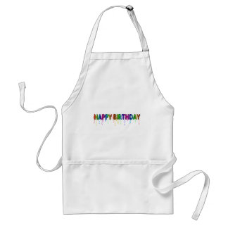 Happy Birthday with Party Streamers Cooking Apron