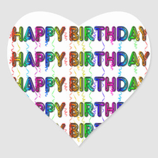 Happy Birthday with Party Streamers Heart Sticker