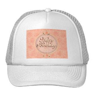 Happy Birthday! with Peach Roses Trucker Hats