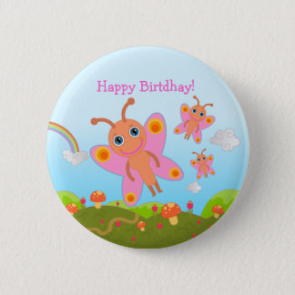 Happy Birthday with pink butterflies Button