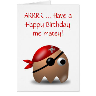 Happy Birthday with pirate and eye patch Greeting Card