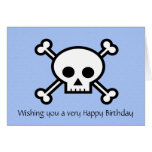 Happy Birthday with pirate skull and crossbones Greeting Card