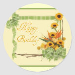 Happy Birthday with Ribbons Classic Round Sticker