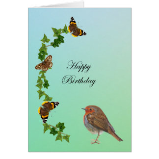 Happy Birthday with Robin, Ivy and Butterflies Card