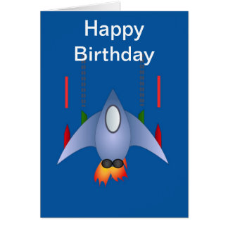 Happy Birthday with spaceship rocket for boy Greeting Card