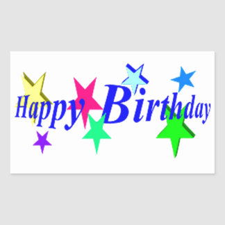 Happy Birthday With Stars Rectangle Stickers