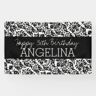 Happy Birthday with Trendy Black and White Damask Banner