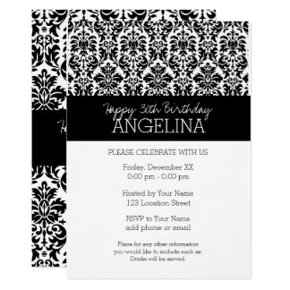 Happy Birthday with Trendy Black and White Damask Card