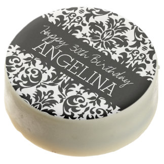 Happy Birthday with Trendy Black and White Damask Chocolate Dipped Oreo