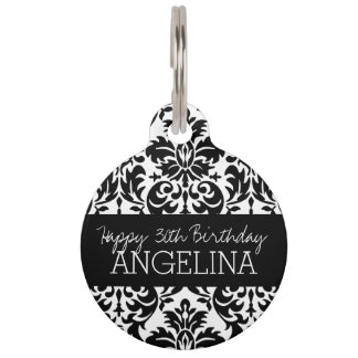 Happy Birthday with Trendy Black and White Damask Pet Nametag