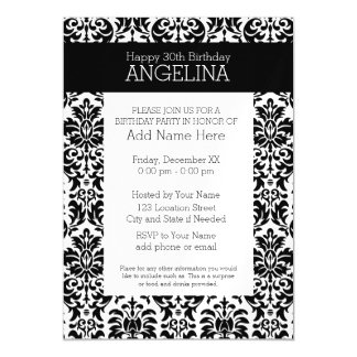 Happy Birthday with Trendy Black and White Damask Magnetic Card